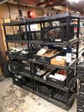 (2) plastic shelves w/ contents