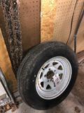 Spare trailer tire, tire chains
