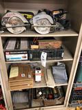 Circular saws, power tools, nails, toolbox