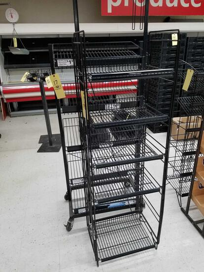 2 wire rack displays, one with casters