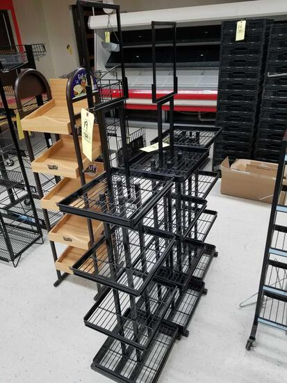 3 display racks, 64 inches tall