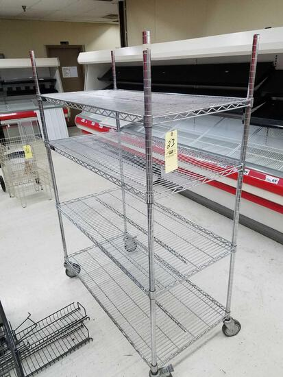 Chrome wire rack on casters, 69 inches