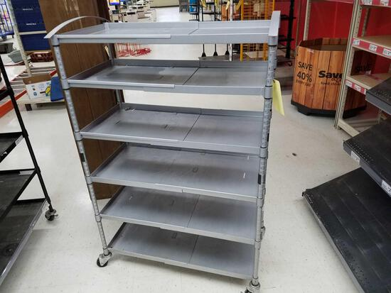 Grey, metal 6 tier shelf, 60 x 40