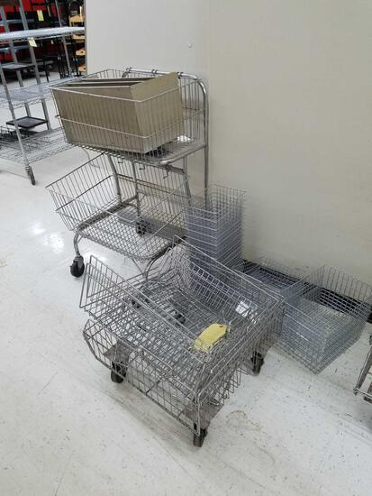 Wire frame baskets, wire cart