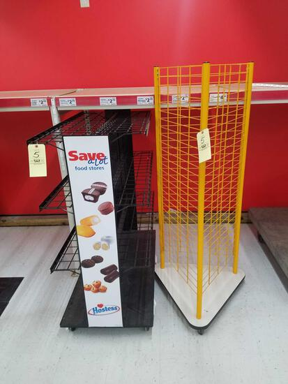 2 display racks, yellow, 64 inches tall