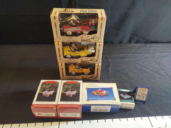 3 1:10 Scale Diecast Pedal Power Cars and 4 Keepsake Ornaments
