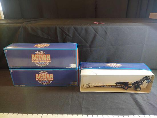 3 Action Platinum Series Racing Collectibles 1:24 Scale Top Fuel Dragsters
