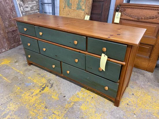 Pine dresser natural and painted finish, 66 inches long