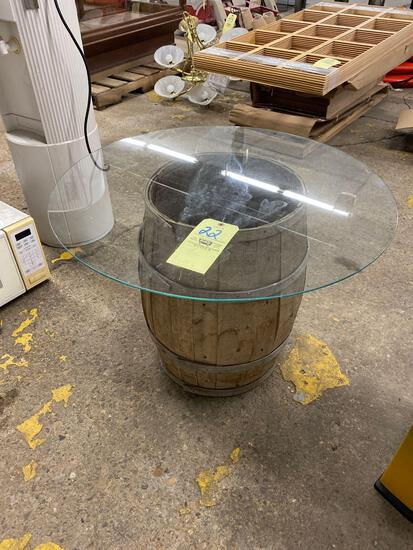 Glass-top barrel table, 22 inches tall