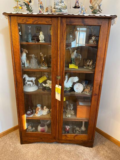 Antique Oak glass front cabinet - no contents