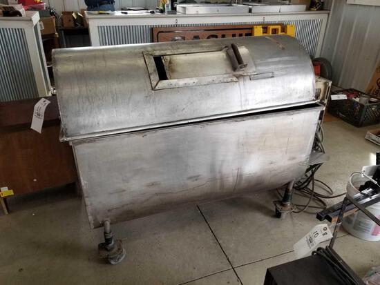 Stainless rotisserie, works, 50 in long