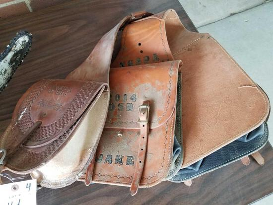 2 sets leather saddle bags