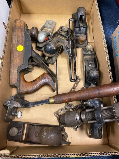 1 flat wood planes and some other tools vintage