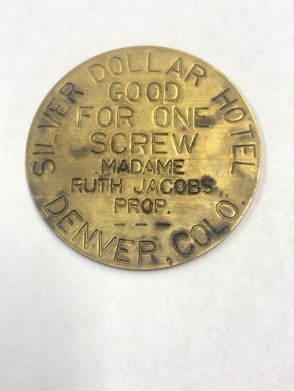 Vintage brothel token, Denver, Silver Dollar Hotel