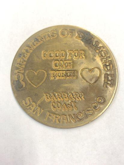Vintage brothel token, San Francisco