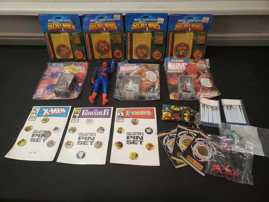 Marvel lot includes pin sets, pens, wallet, remco Spiderman, Sercret Wars