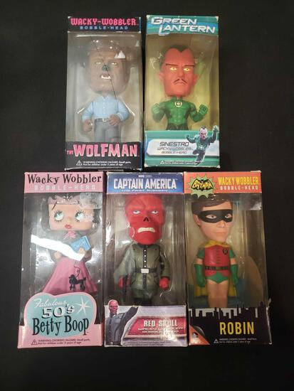 Wacky Wobblers bobble heads (super heros and Betty Boop)