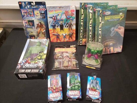 Superheros lot, (3) Godzilla colorform sets sealed, diecast Hulk