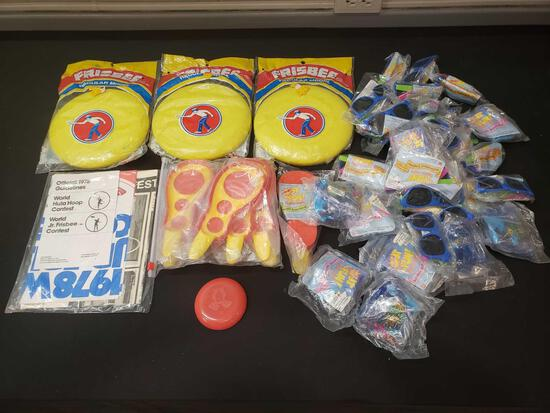 Vintage frisbees, McDonald's toys mint packaged
