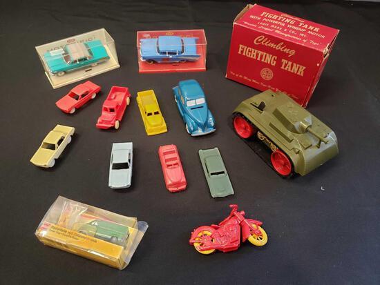 Marx climbing fighting tank, ideal Motorific, F&F plastic cars