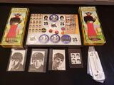 The Beatles lot (Yellow submarine model kit, buttons, stamps)