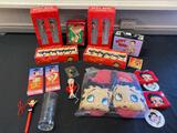 Betty Boop assorted items, glasses, shower hooks, slippers, wallets, pen, air fresheners and more