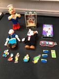 Popeye Items, Plush Dolls, Magnets, Sun Glasses, Popeye Windup