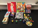 Chatty Baby Puzzle, Novelty Toys, Tin Noise Makers, Tin Tanks, Zany Zappers, Uncle Sam Bank