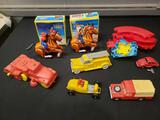 Auburn rubber cars, windup cowboy and Indian in box, VW by Ideal