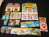 '70's toys, 3D stickers double sided, hambuger on wheels, super sling