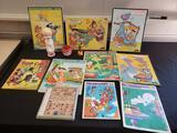 Vintage character puzzles, rings (Flintstones, Casper)