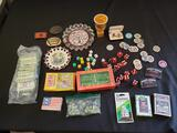 Las Vegas casino lot (playing cards, dice, chips, ashtrays, matches, belt buckles)