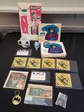 Vintage Batman lot, Batman carton cutout, Batman radio