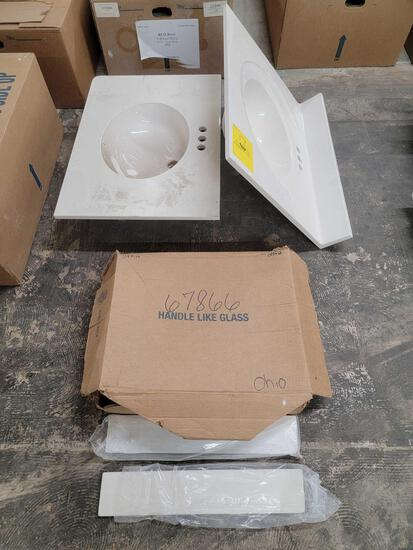 (2) Bathroom Sinks, Small Porcelain Slabs