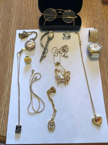 Assorted Costume Jewelry, Watches, Rolled Gold Glasses