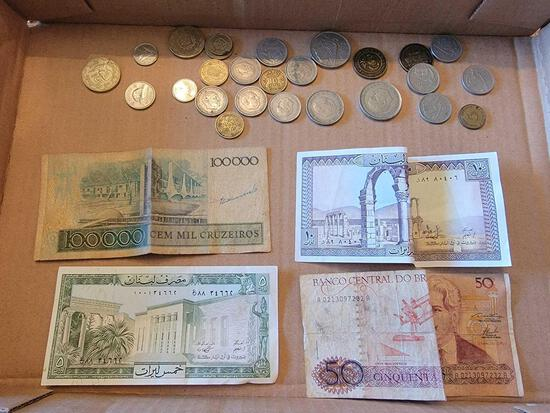 Assorted Foreign Paper Money and Coins