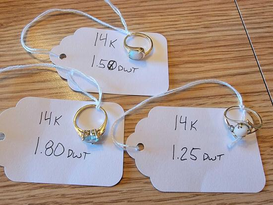 (3) Rings Marked 14K