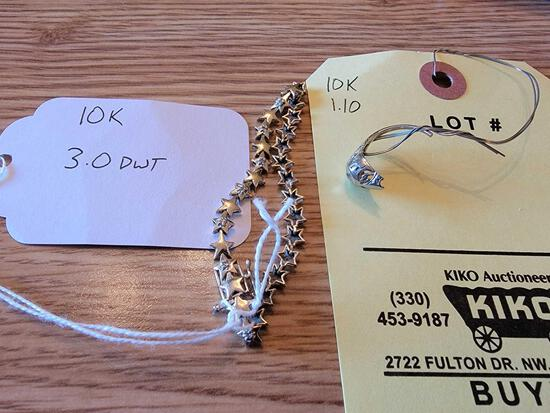 Bracelet and Broken Ring Marked 10K