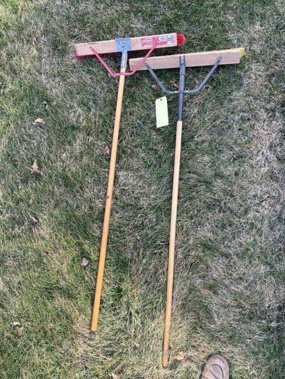Pair of push brooms
