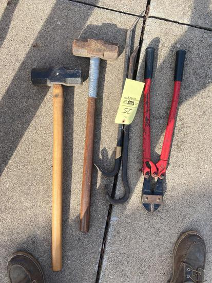 Sledge hammers, pry bars, bolt cutters