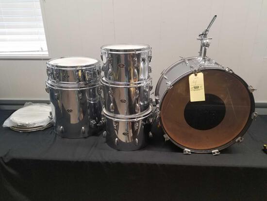 Vintage Slingerland 1970s, 6pc, chrome drum set, w/ extra bottom rings