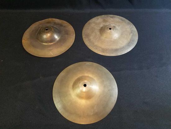 3 cymbals, Zilgo Turkish, Zildjian brands, thin crash