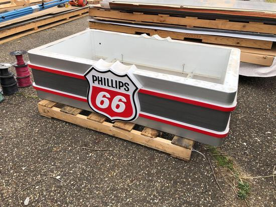 Lighted Phillips 66 hanging sign