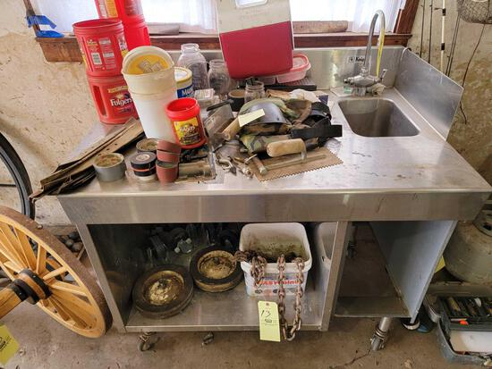 Knight Stainless Steel Prep Table with Sink on Casters