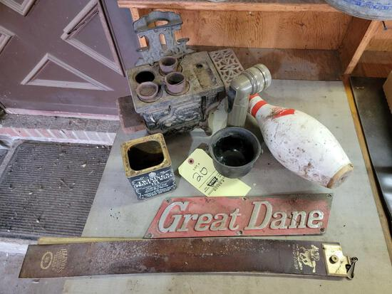 Cast Iron Stove, Bowling Pin, Great Dane Plaque