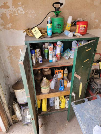 Steel Cabinet with Sprays, Oils, Cleaners