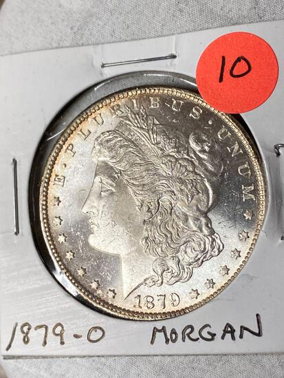 1879-O Morgan dollar, AU.