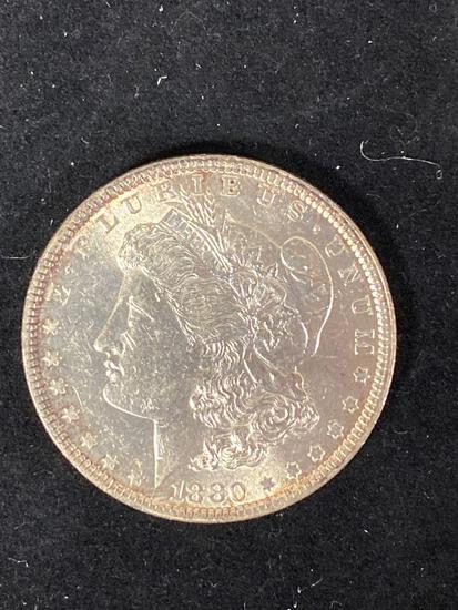 1880 Morgan dollar, AU.