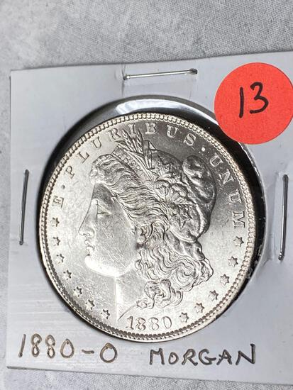 1880-O Morgan dollar, AU.