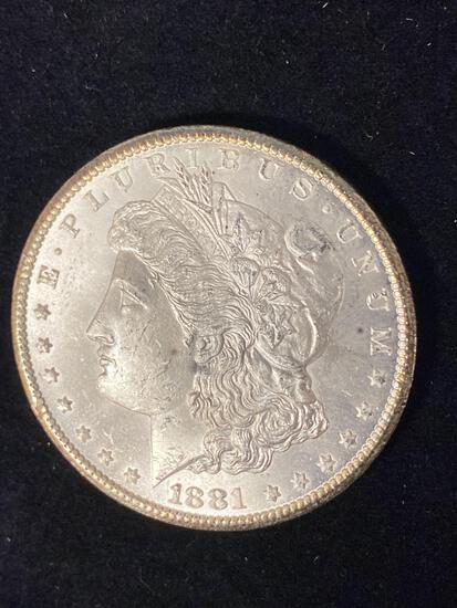 1881-CC Morgan dollar, AU.